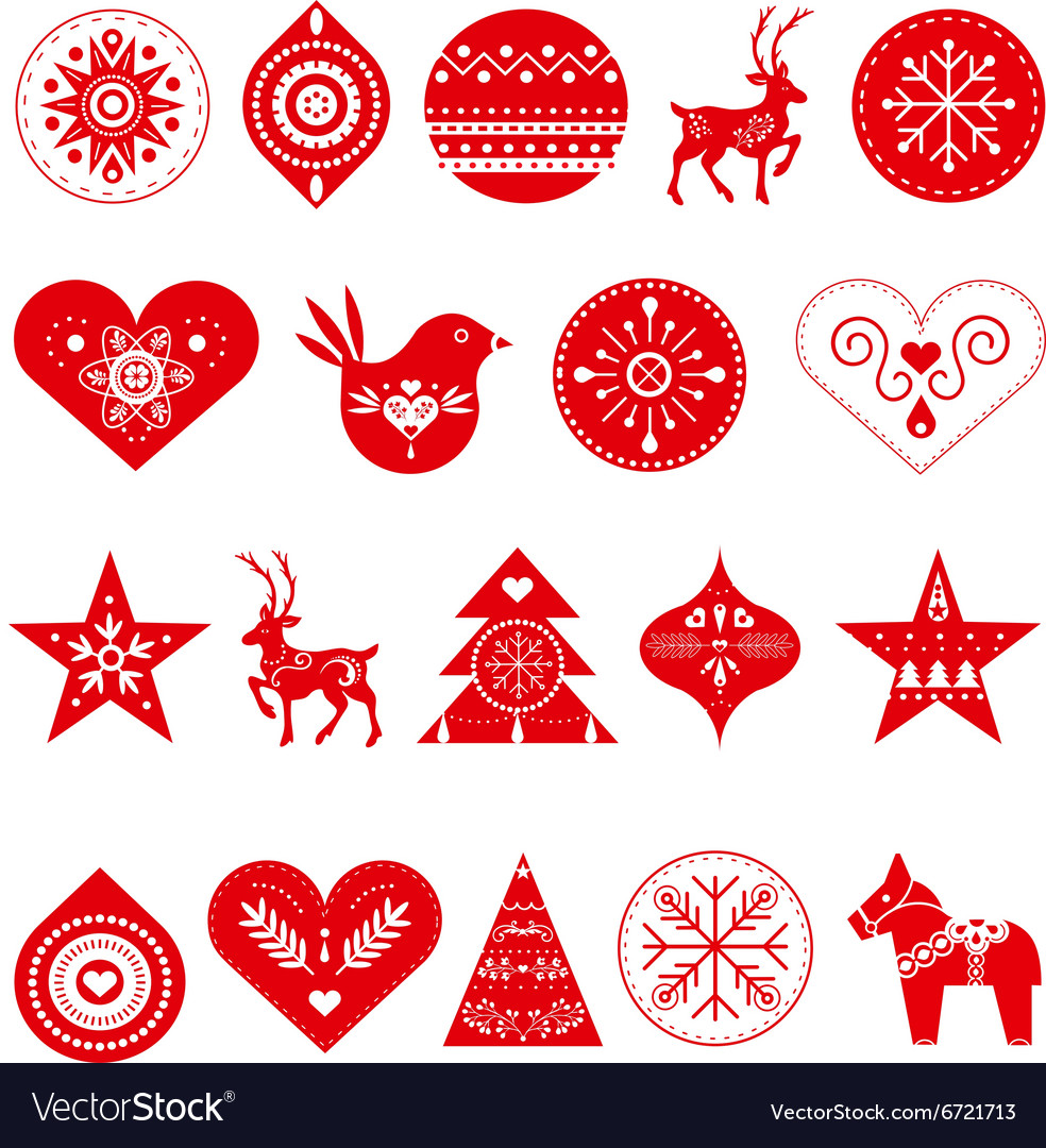 Scandinavian christmas decorations vector
