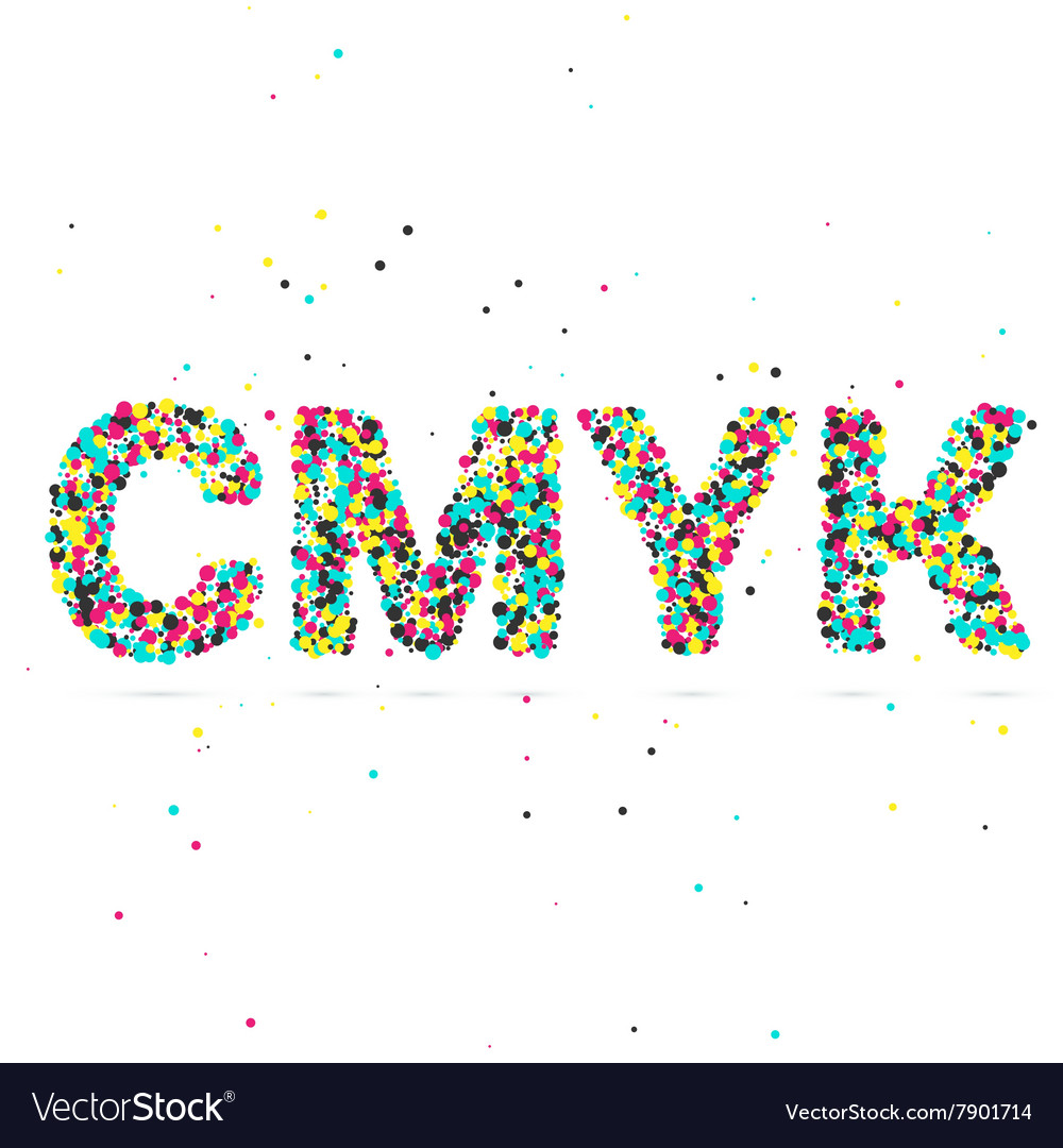 Cmyk consisting of colored particles vector