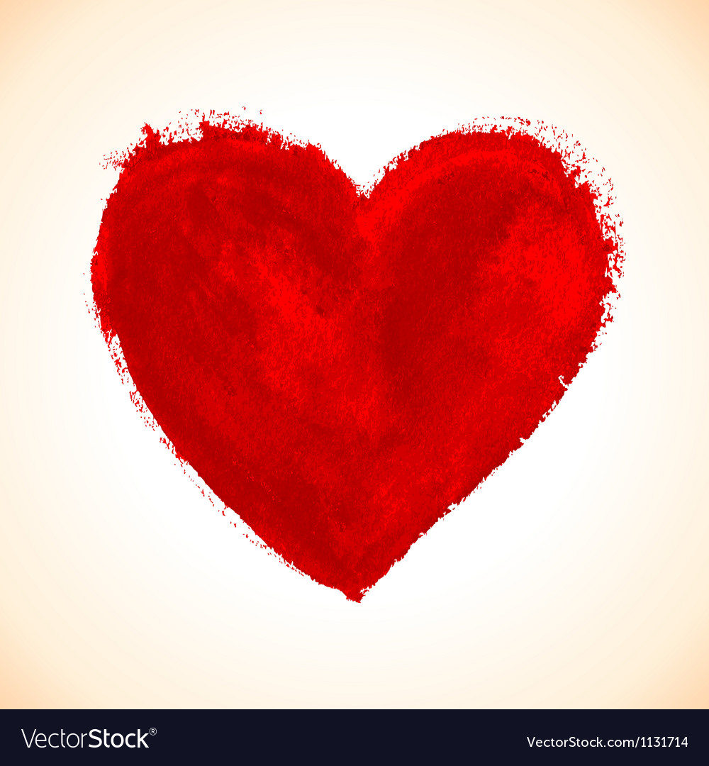 Handdrawn painted red heart vector