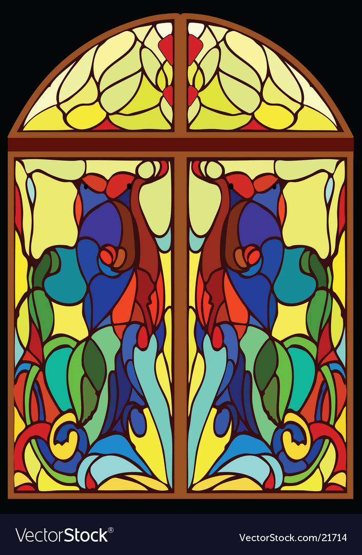 Windowstainedglass window from color glass vector