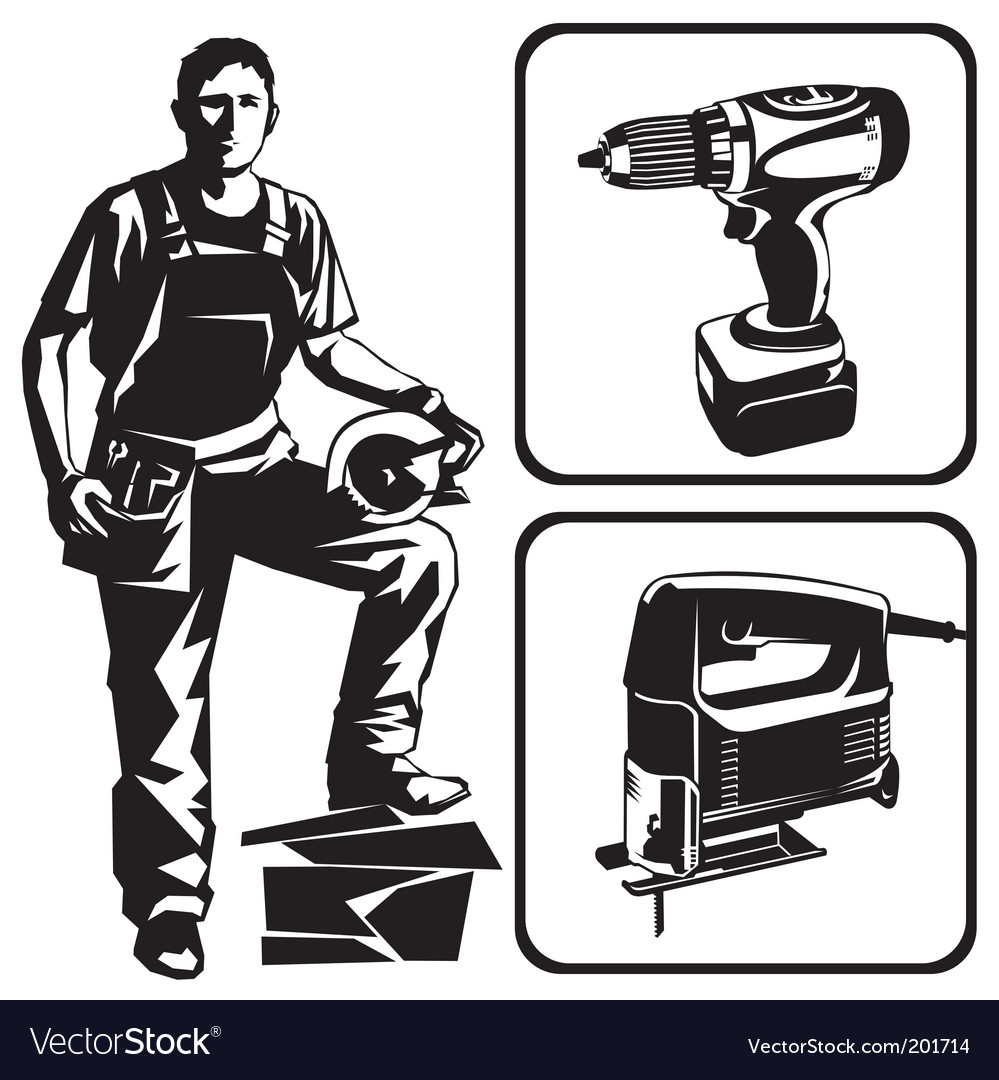 Worker and tools vector