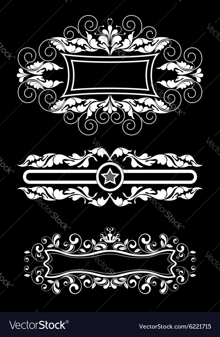 Three old white frame with curls and ribbons vector