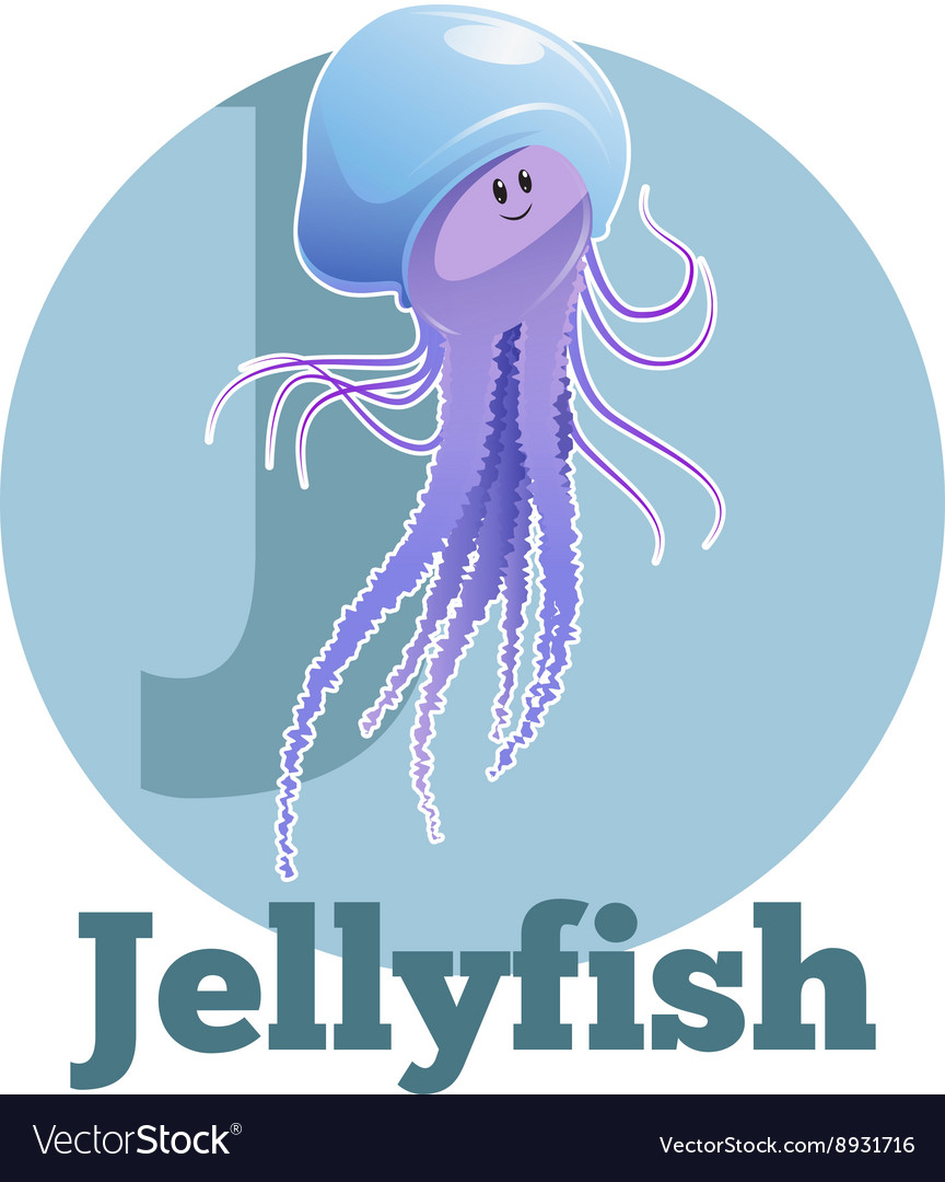 Abc cartoon jellyfish2 vector