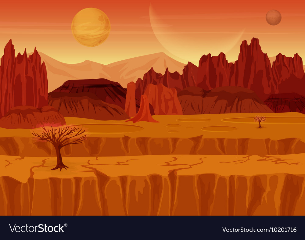 Fairy game scifi red mars alien landscape nature vector
