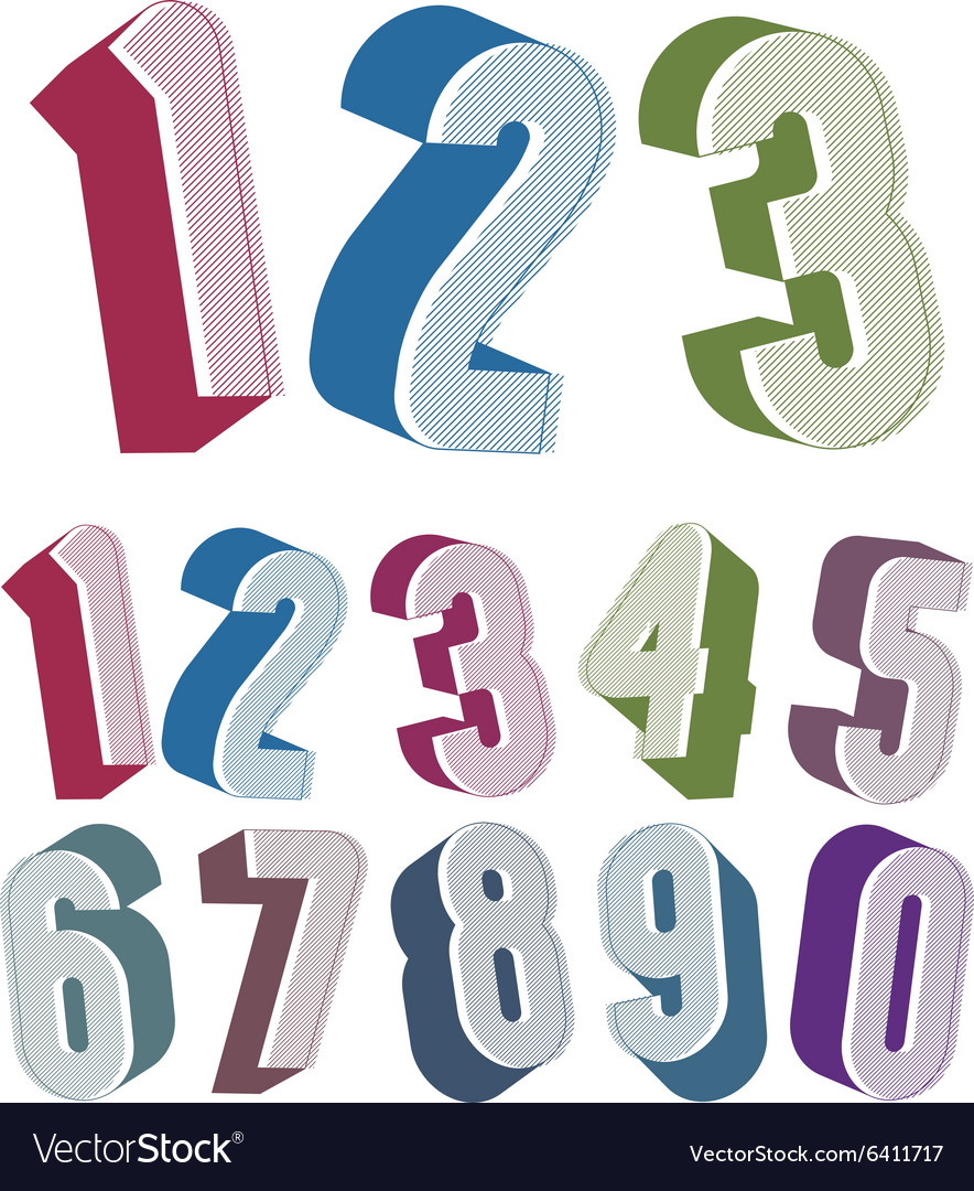 3d numbers set made with round shapes vector