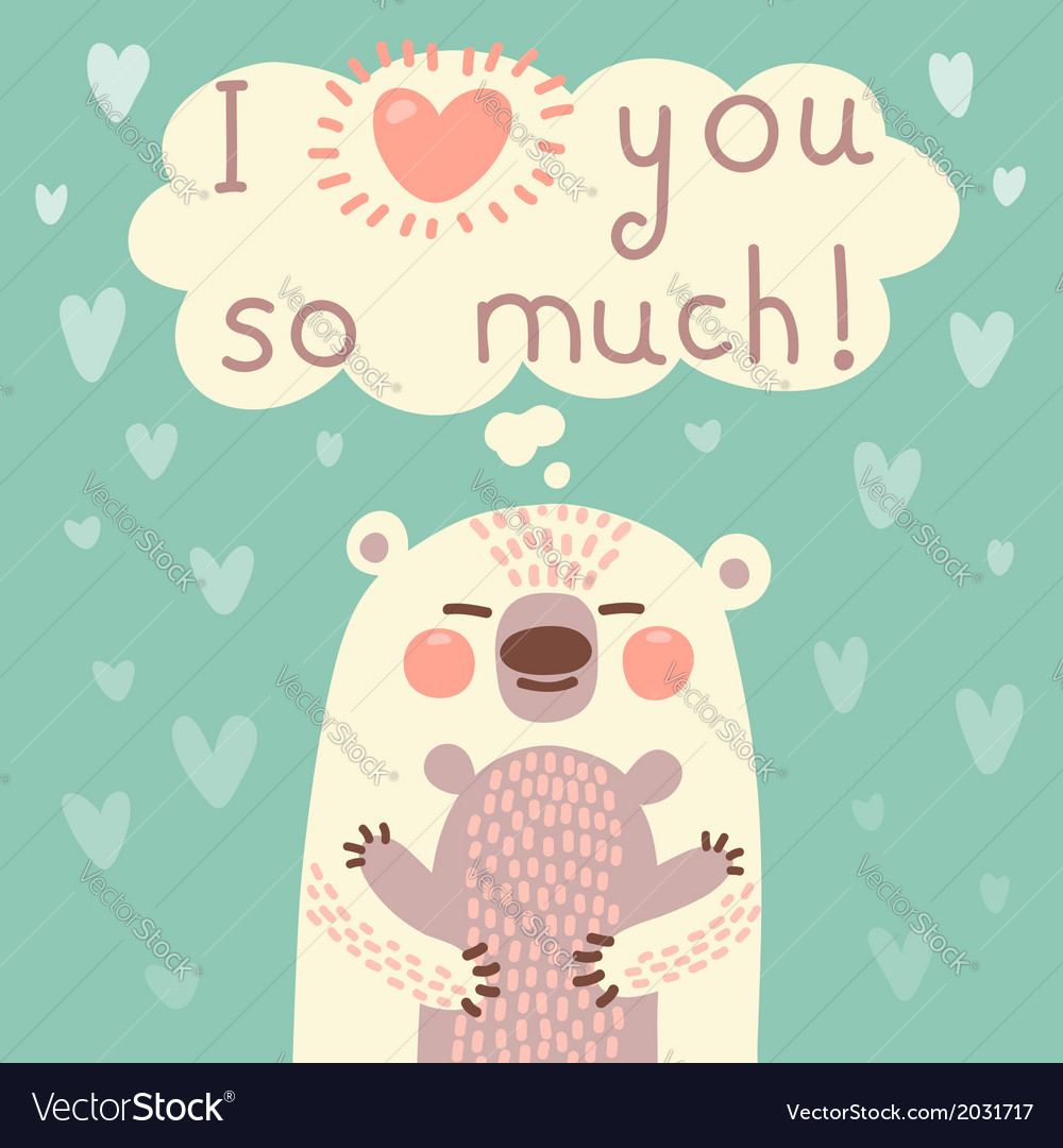 Greeting card for the bear mother and cub vector