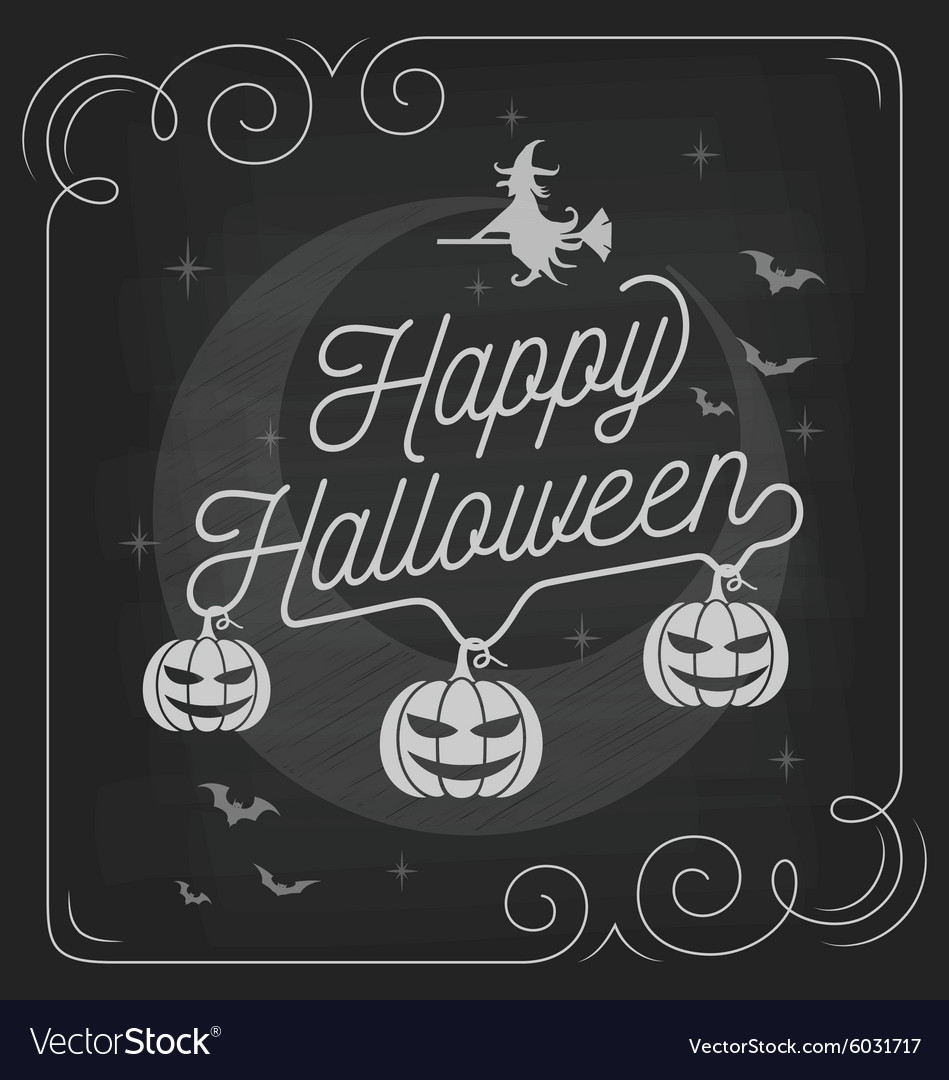 Happy halloween typography on chalkboard design vector