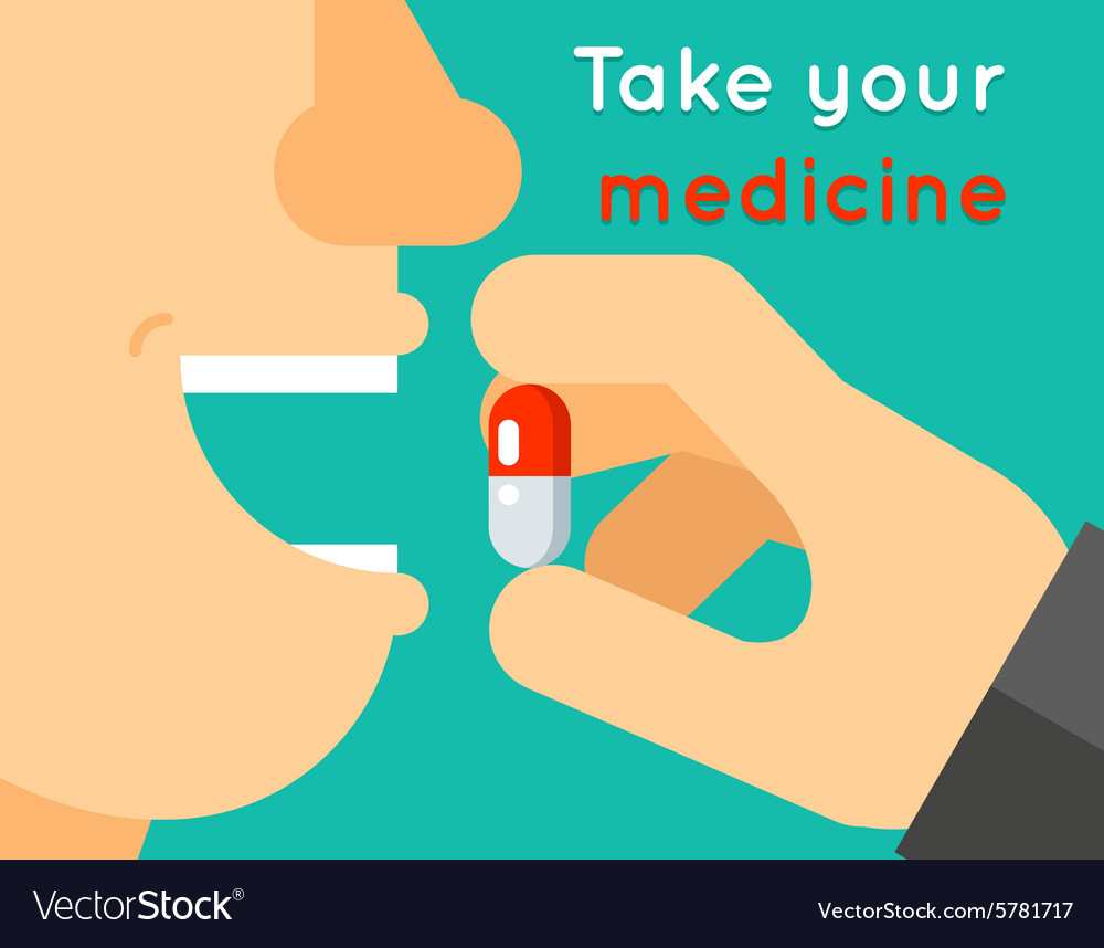 Take your medicine concept person puts tablet in vector