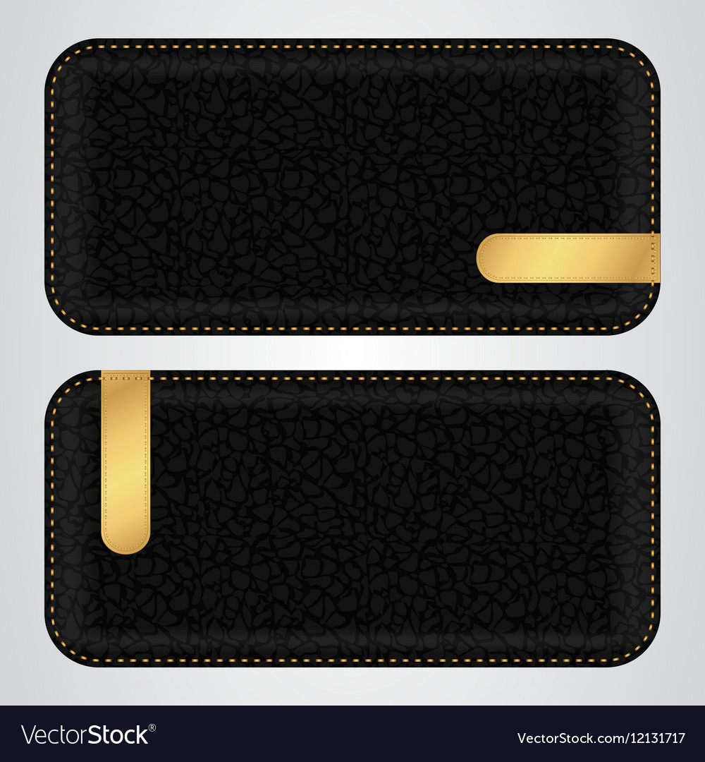 Two black leather horizontal banner with gold vip vector