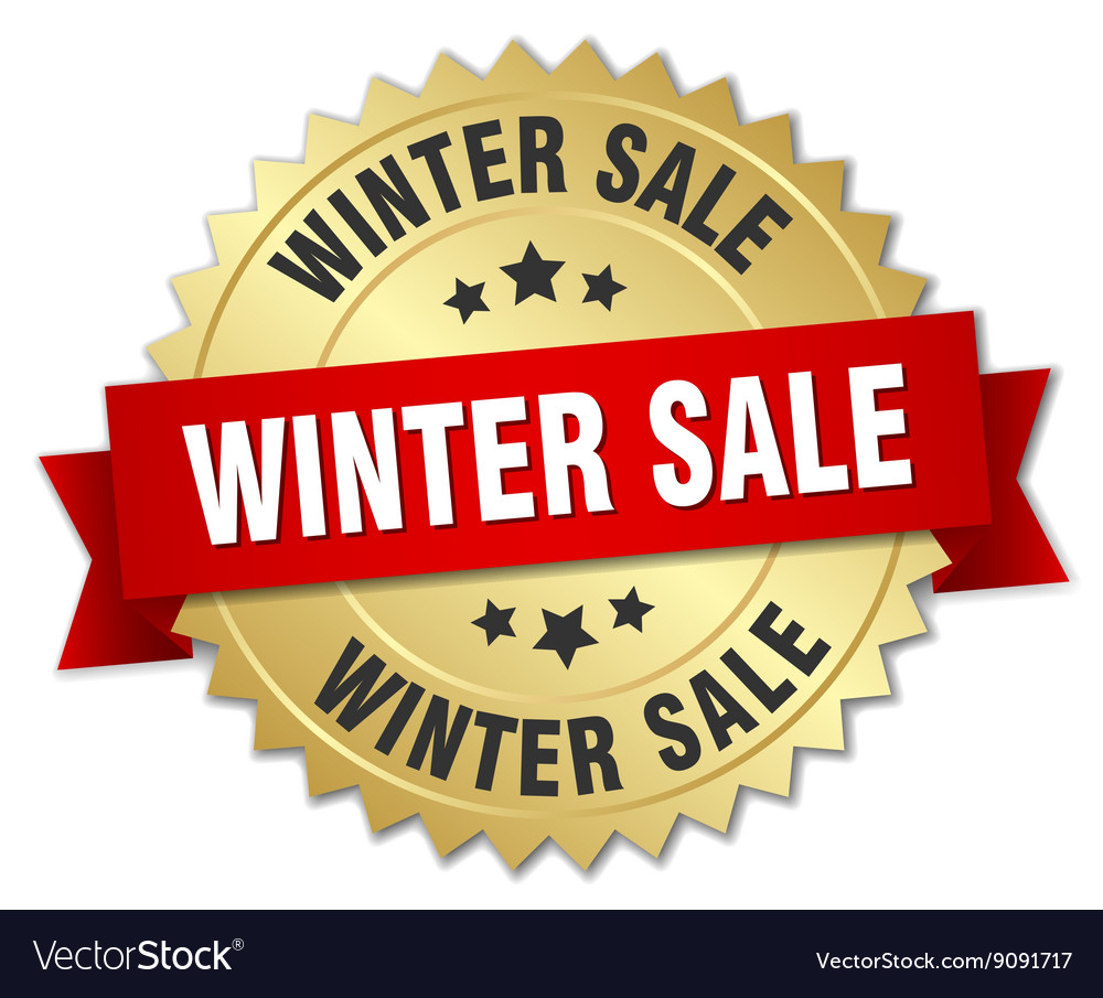 Winter sale 3d gold badge with red ribbon vector