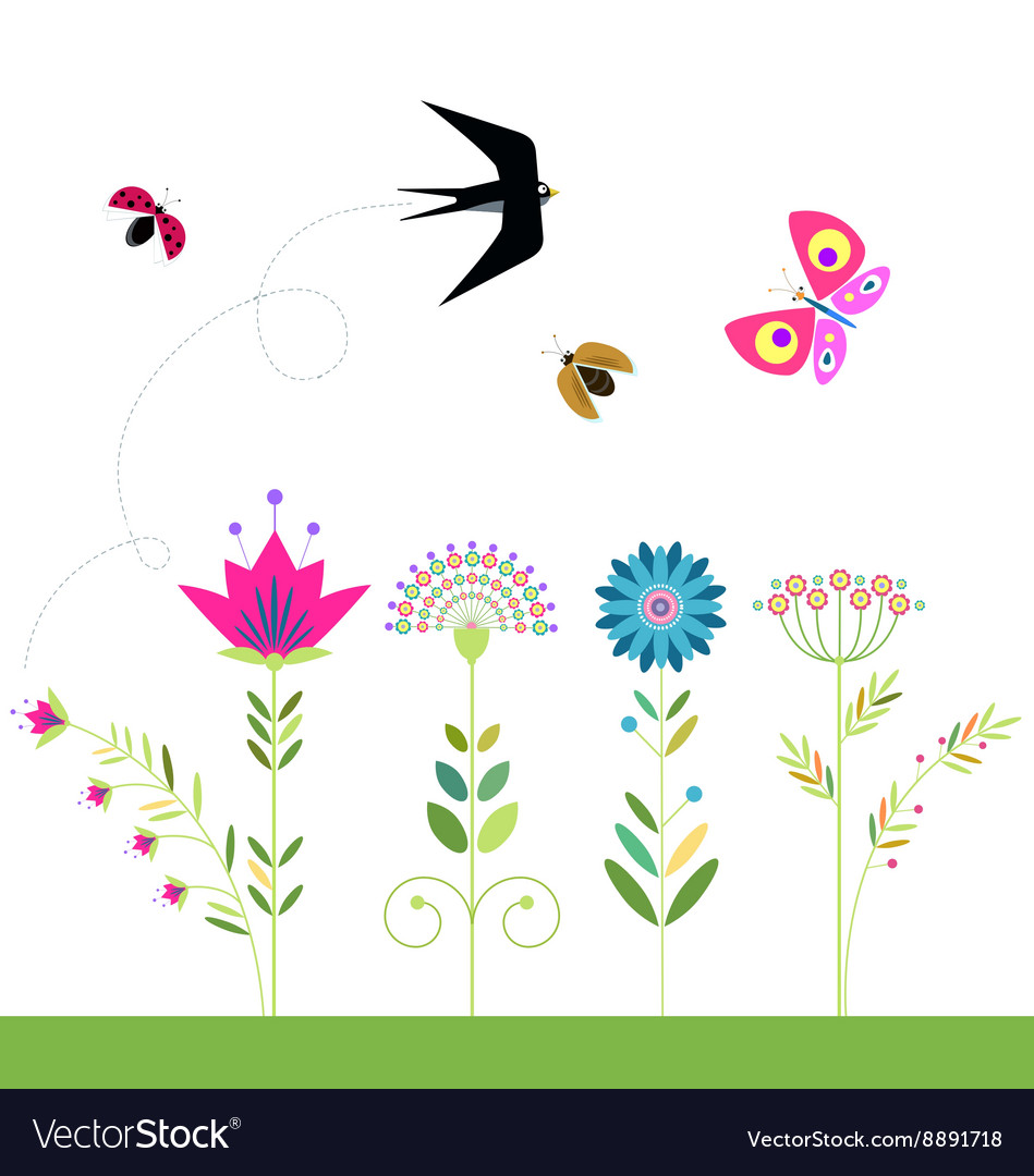 Flowers set swallow butterfly ladybug beetle vector
