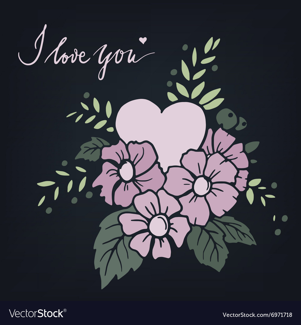 Hand drawn design element with heart vector