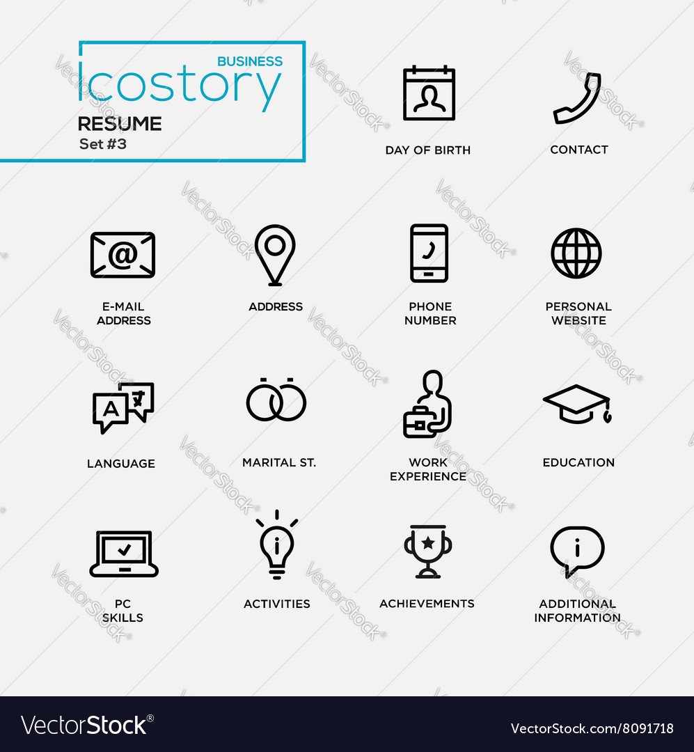 Modern resume simple thin line design icons vector