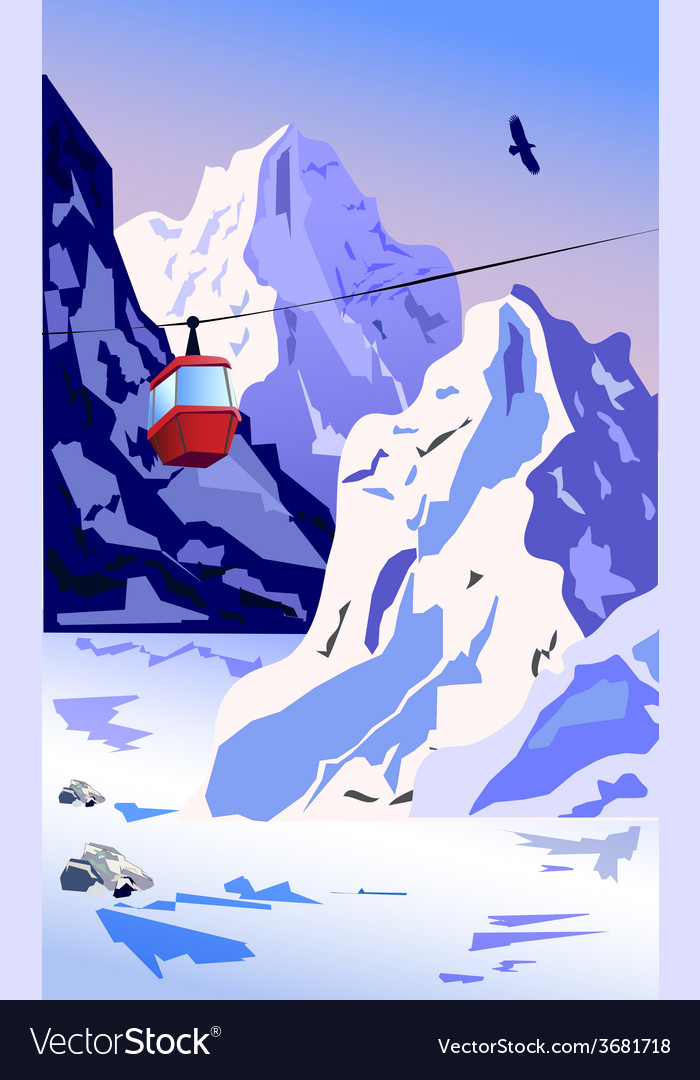 Winter mountains with ropeway vector