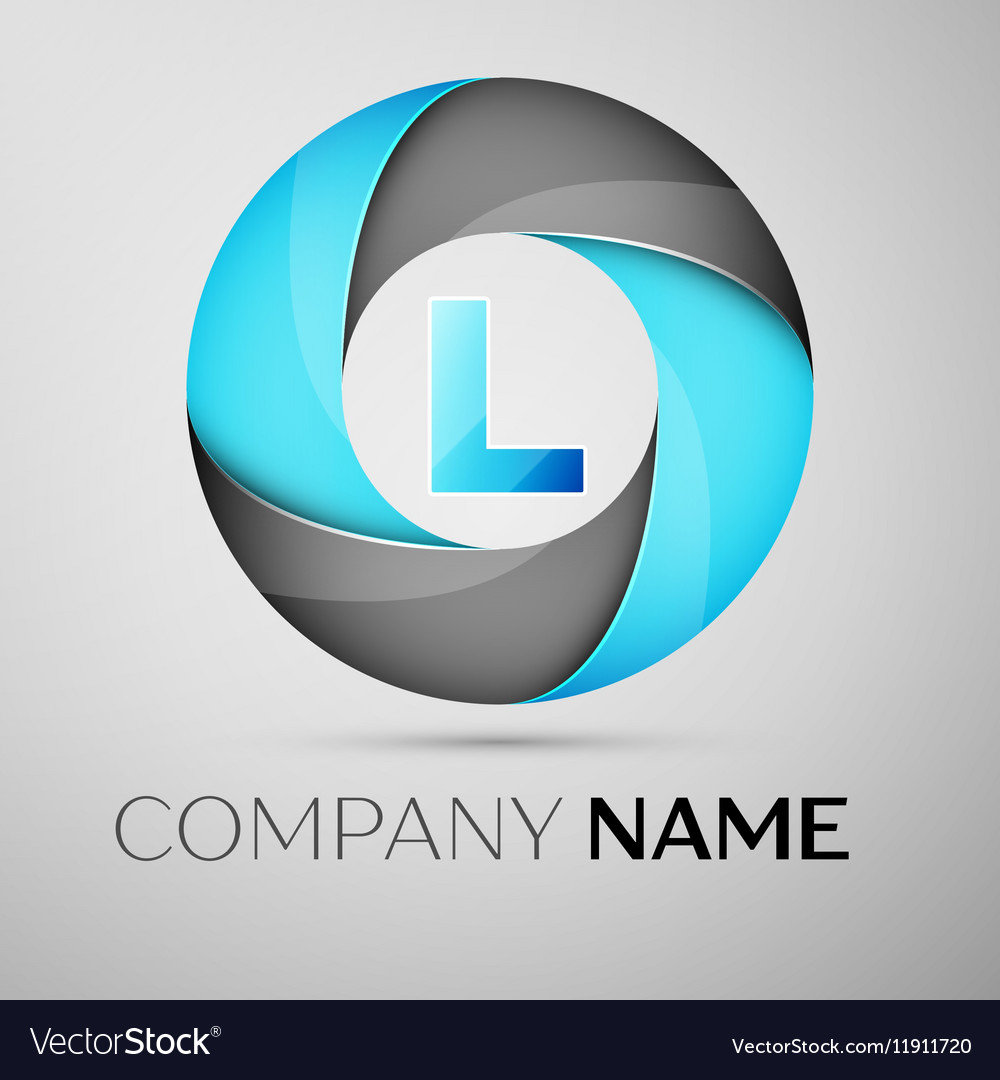 Letter l logo symbol in the colorful circle vector