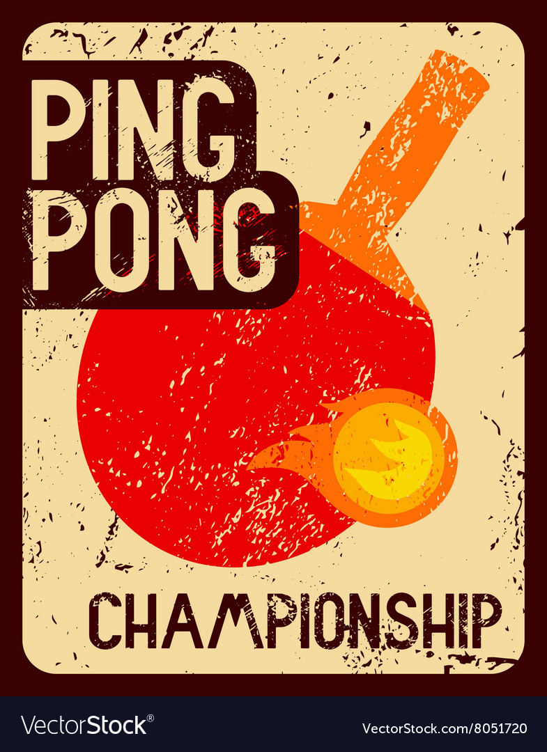 Ping pong typographical vintage style poster vector