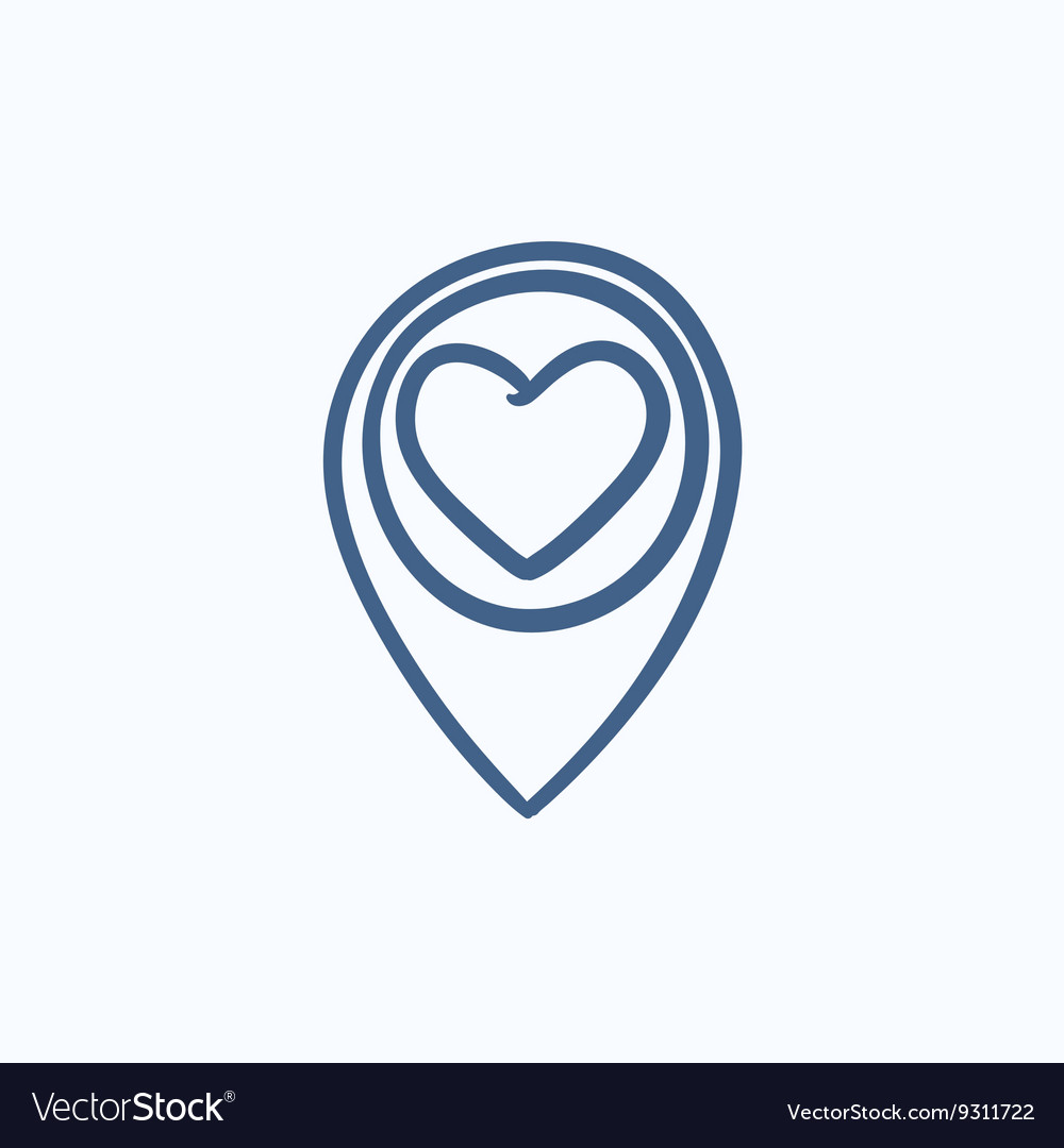 Map pointer with heart sketch icon vector