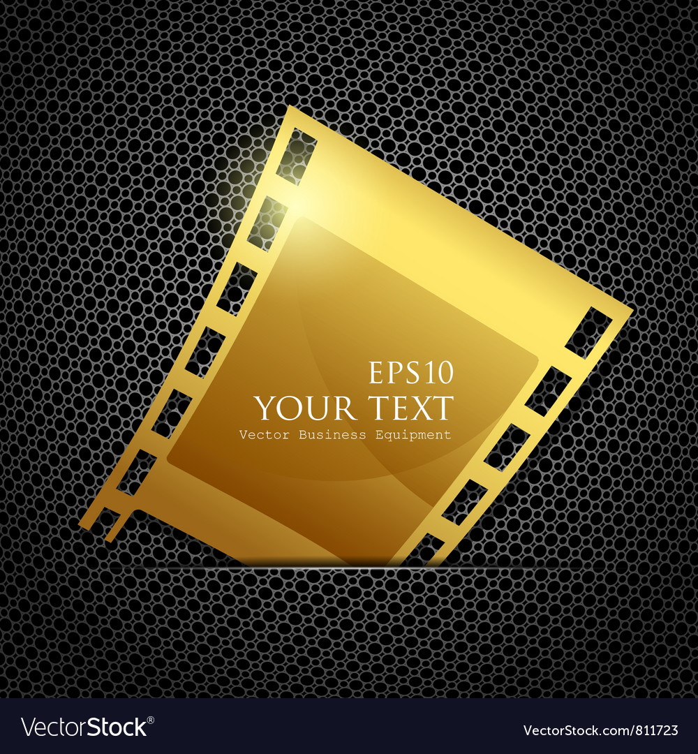 Empty gold camera film roll vector