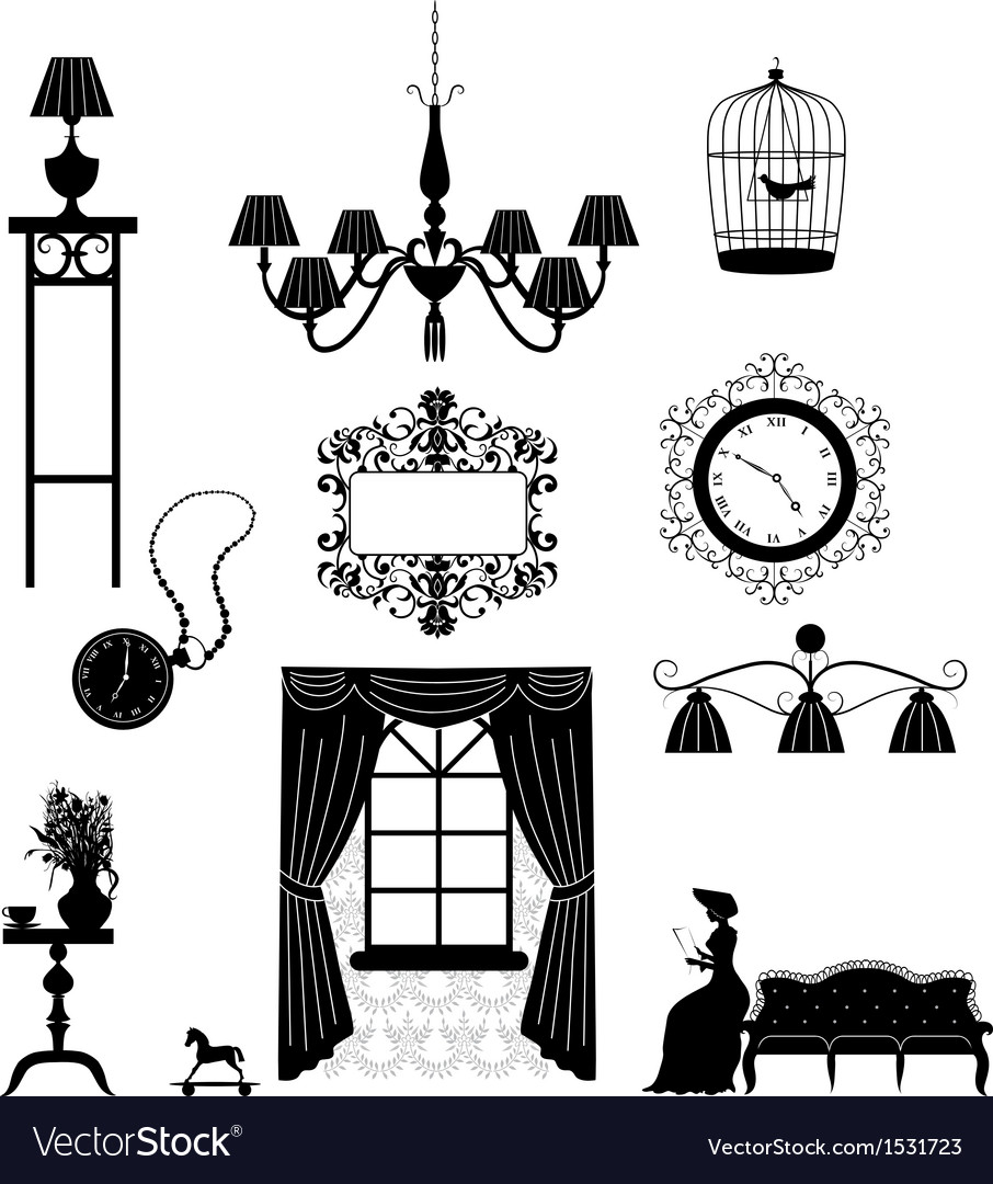 Retro furniture silhouettes vector