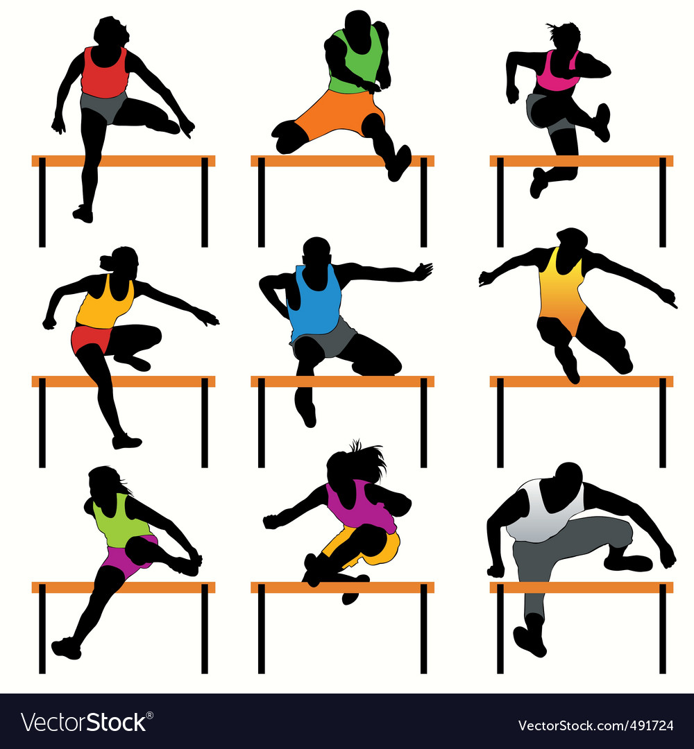 Hurdles set vector