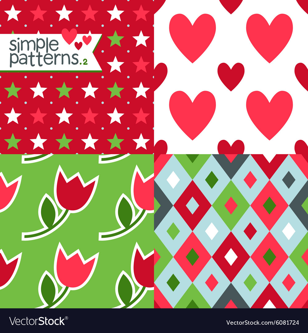Set of four simple seamless patterns vector