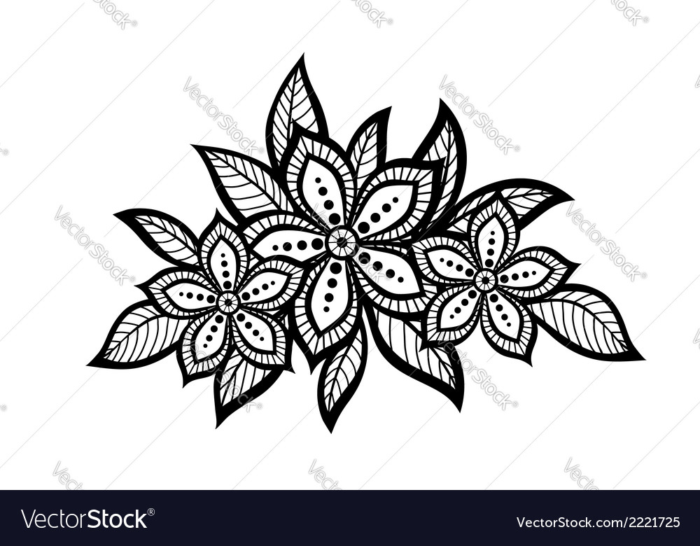 Beautiful floral pattern design element old style vector