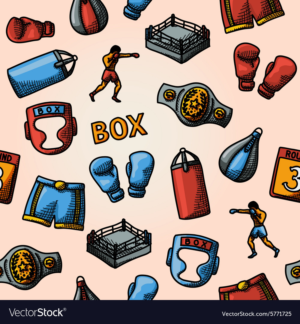 Boxing hand drawn color pattern  gloves shorts vector