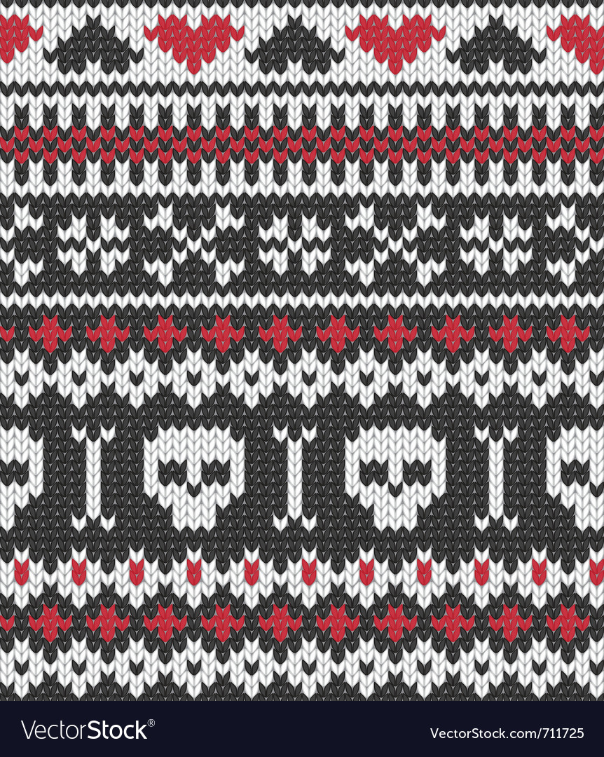 Knitted pattern with skulls vector
