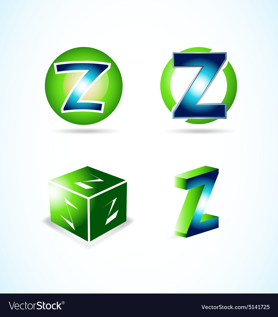 Letter z green blue logo vector