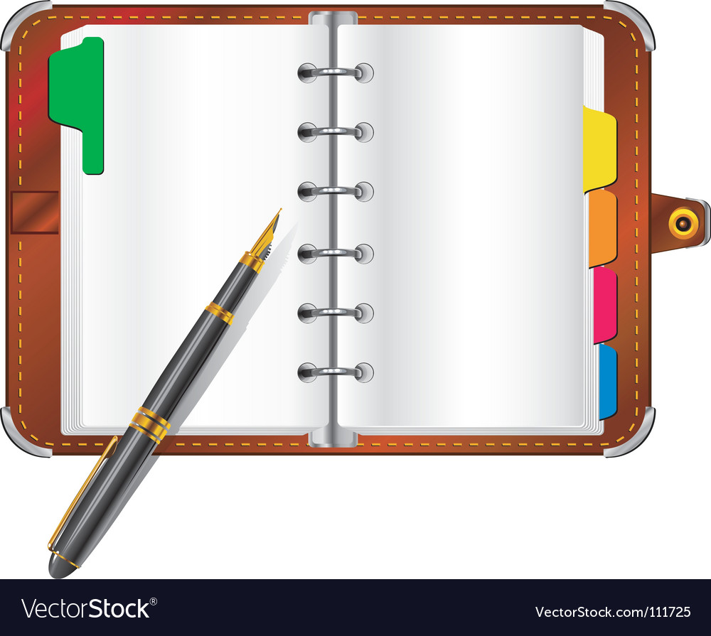 Organizer and pen vector