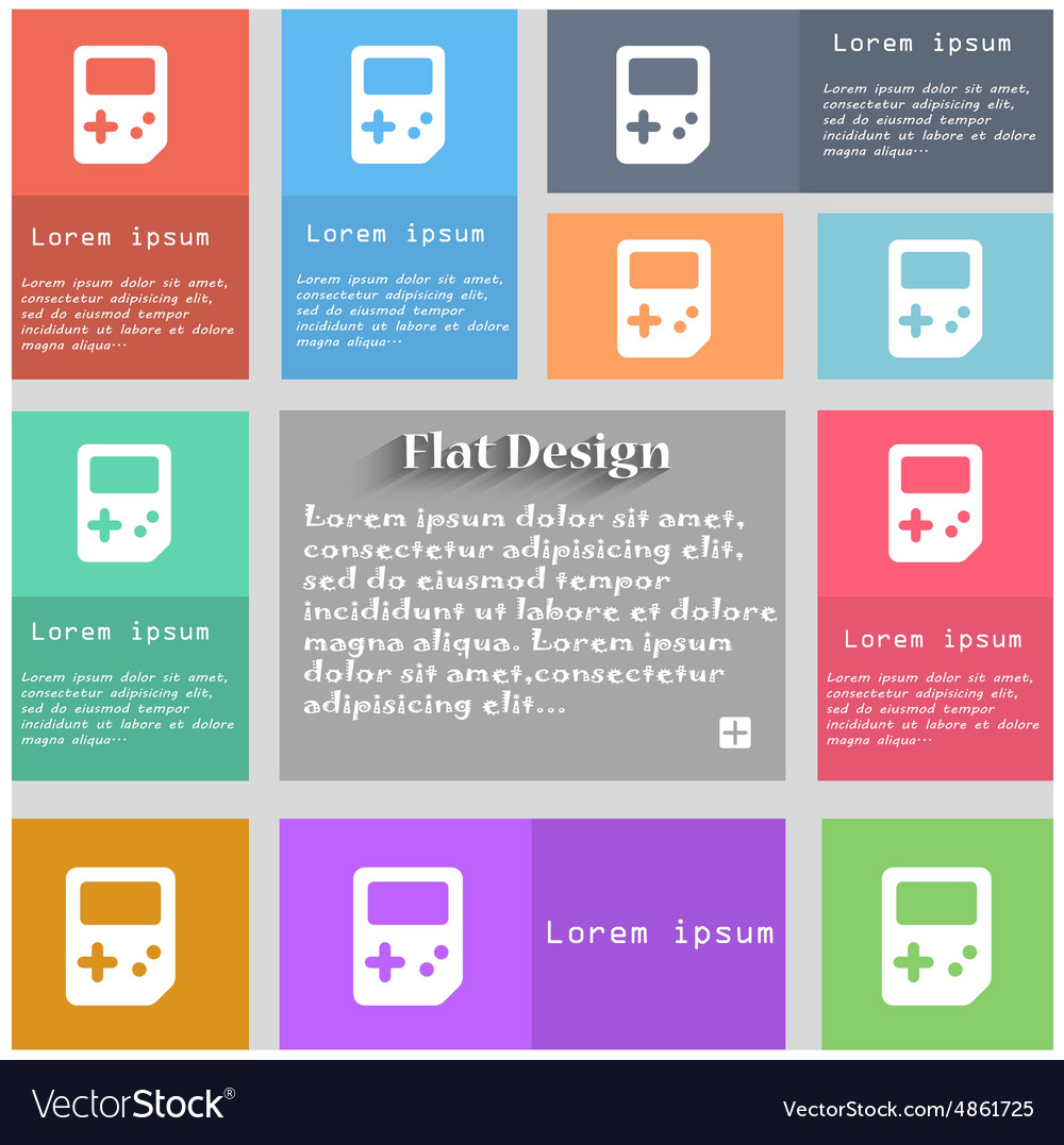 Tetris icon sign set of multicolored buttons metro vector
