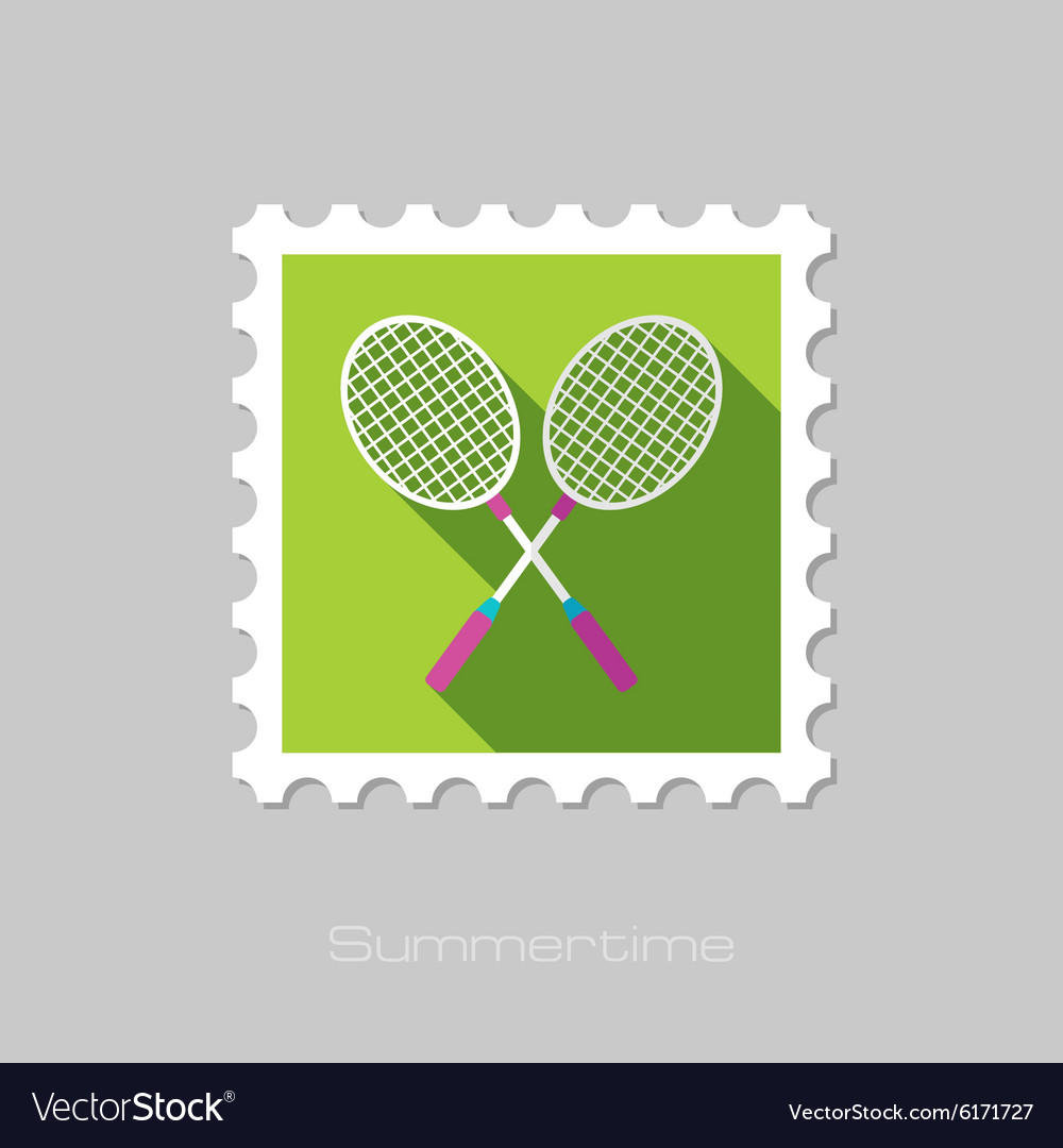 Badminton racket flat stamp with long shadow vector
