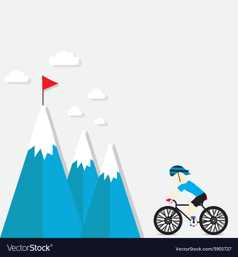 Cycling on the mountain vector
