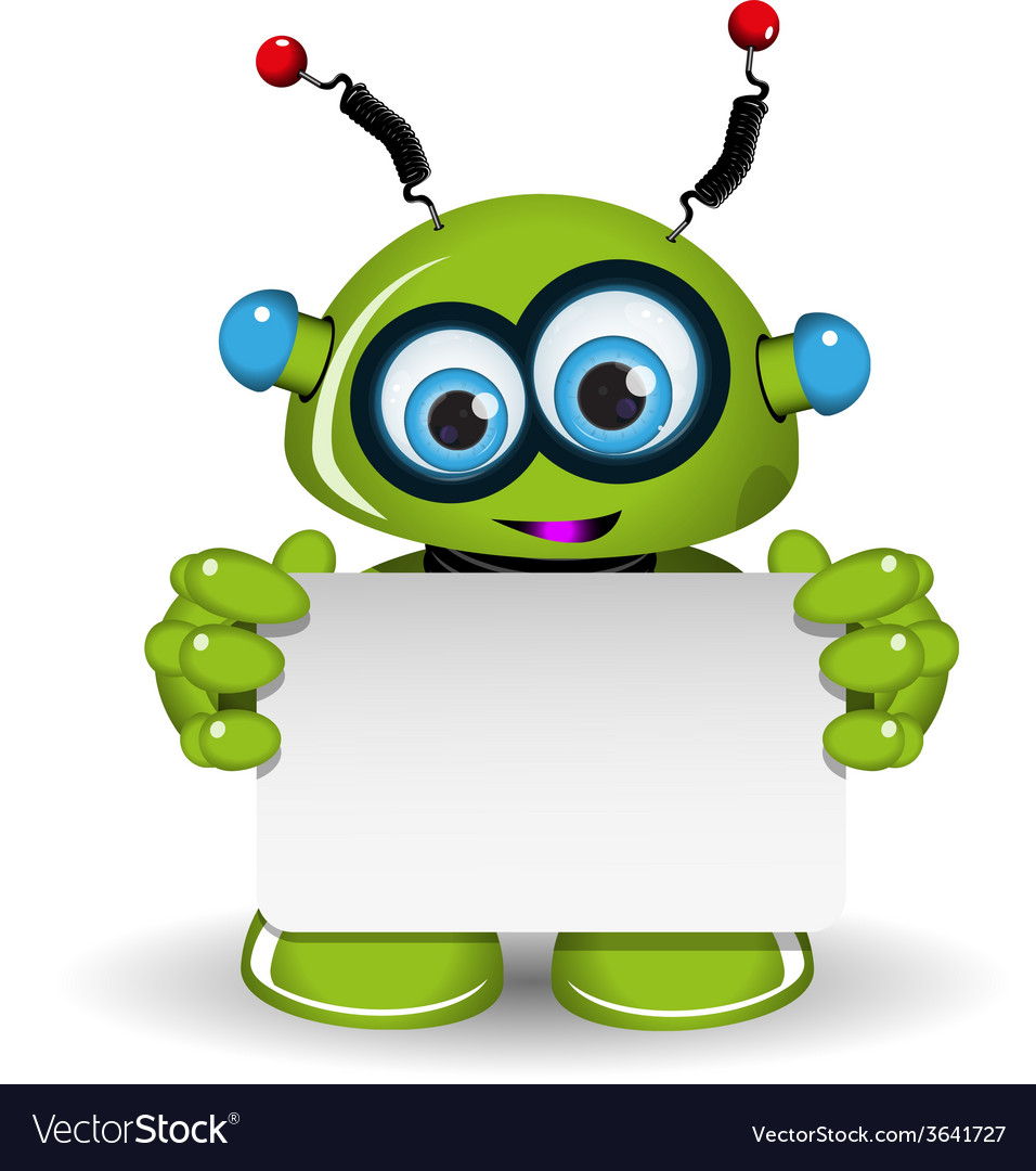 Green robot and white background vector