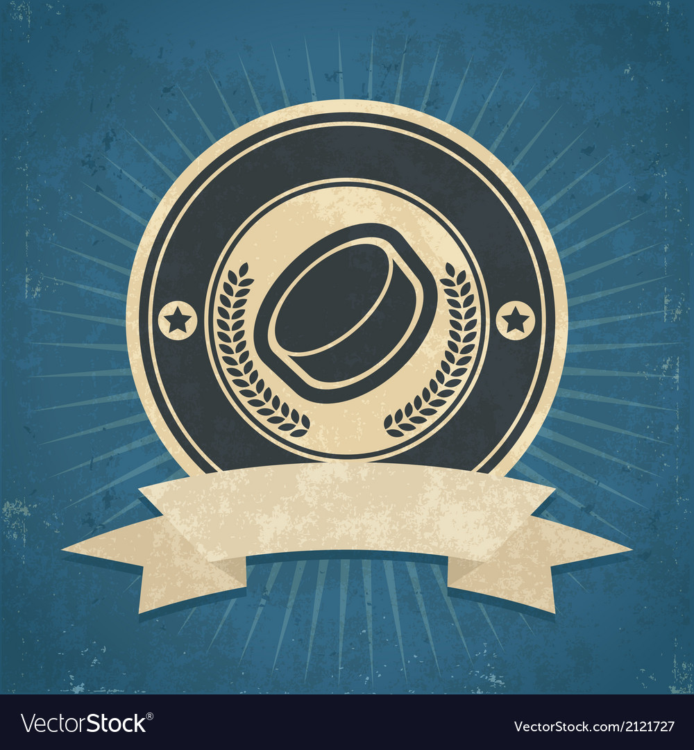 Retro hockey puck emblem vector