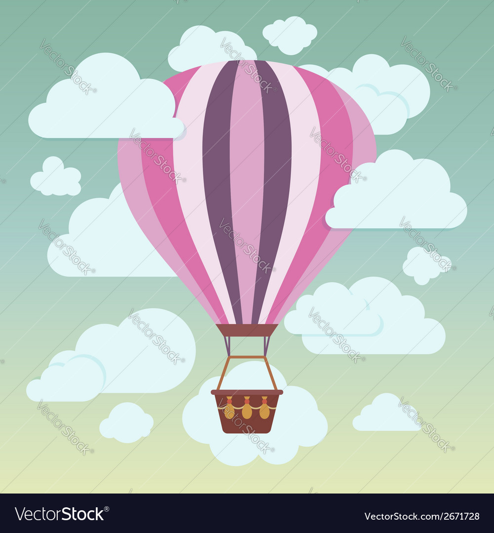 Clouds and striped hot air balloon on a blue vector