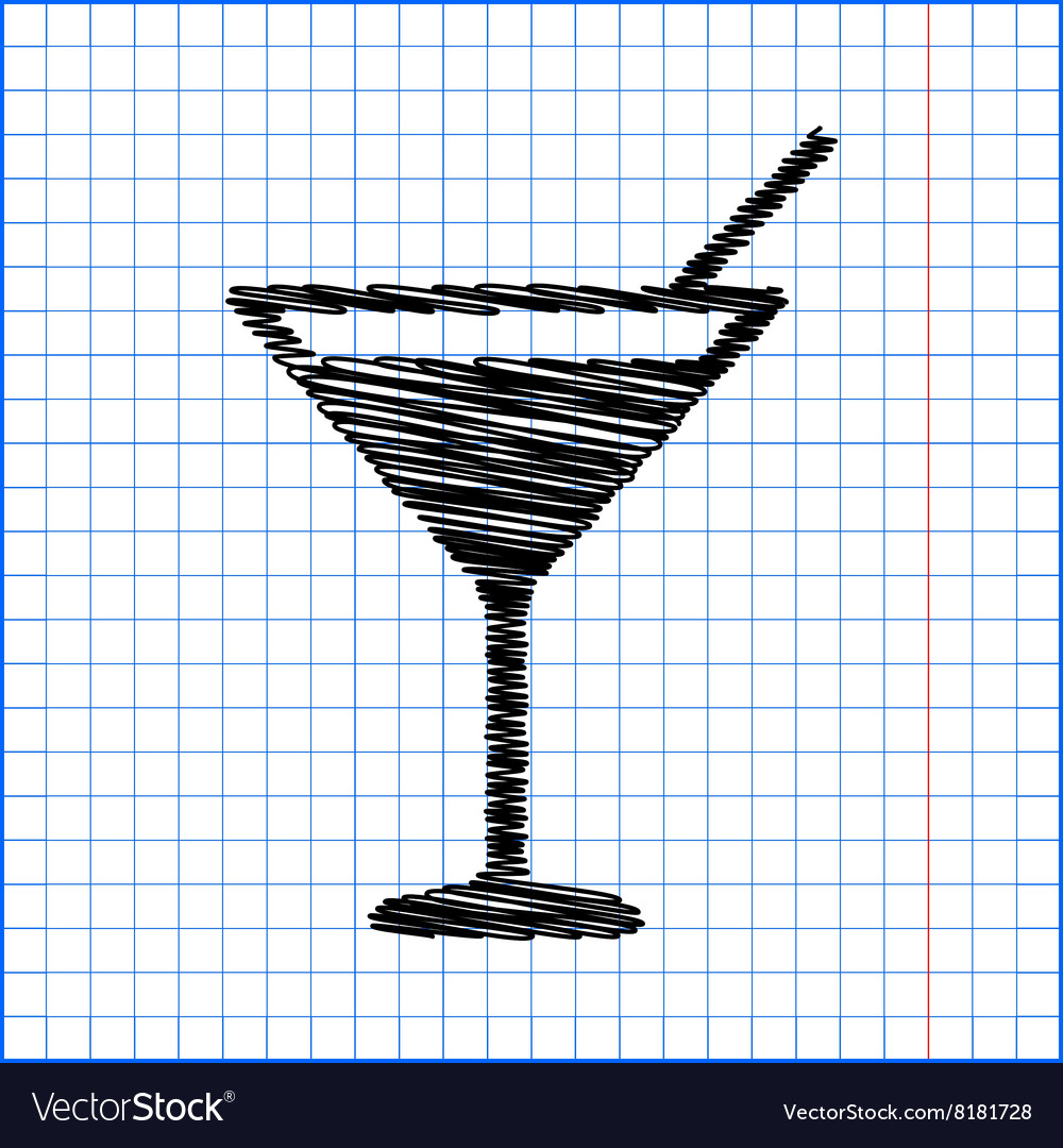 Coctail icon with pen effect vector