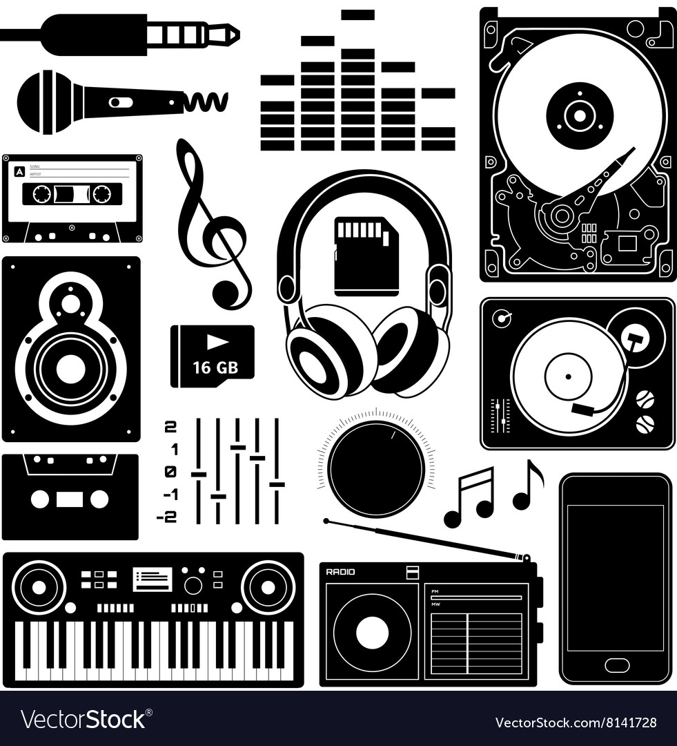 Sound equipment black icons vector