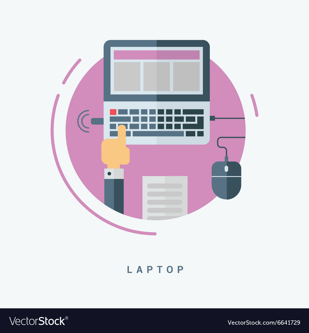 Flat style laptop concept man working with laptop vector