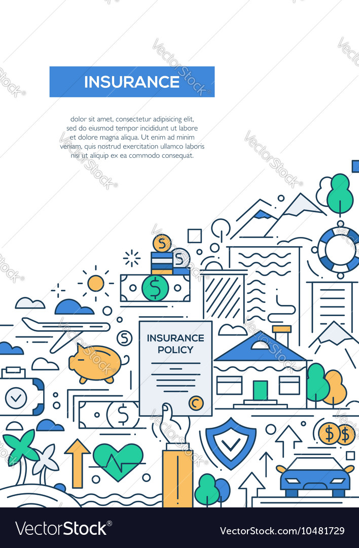 Insurance  line design brochure poster template vector