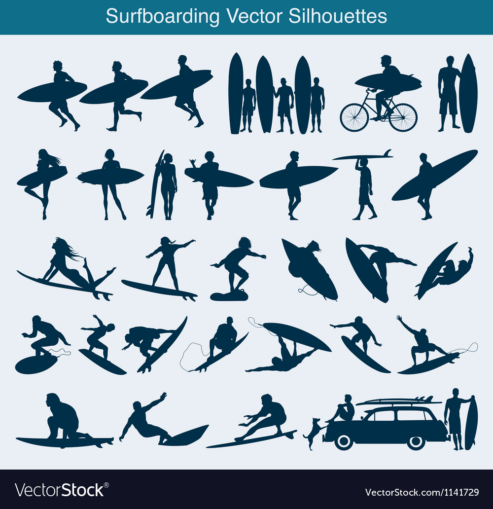 Surfboarding silhouettes vector