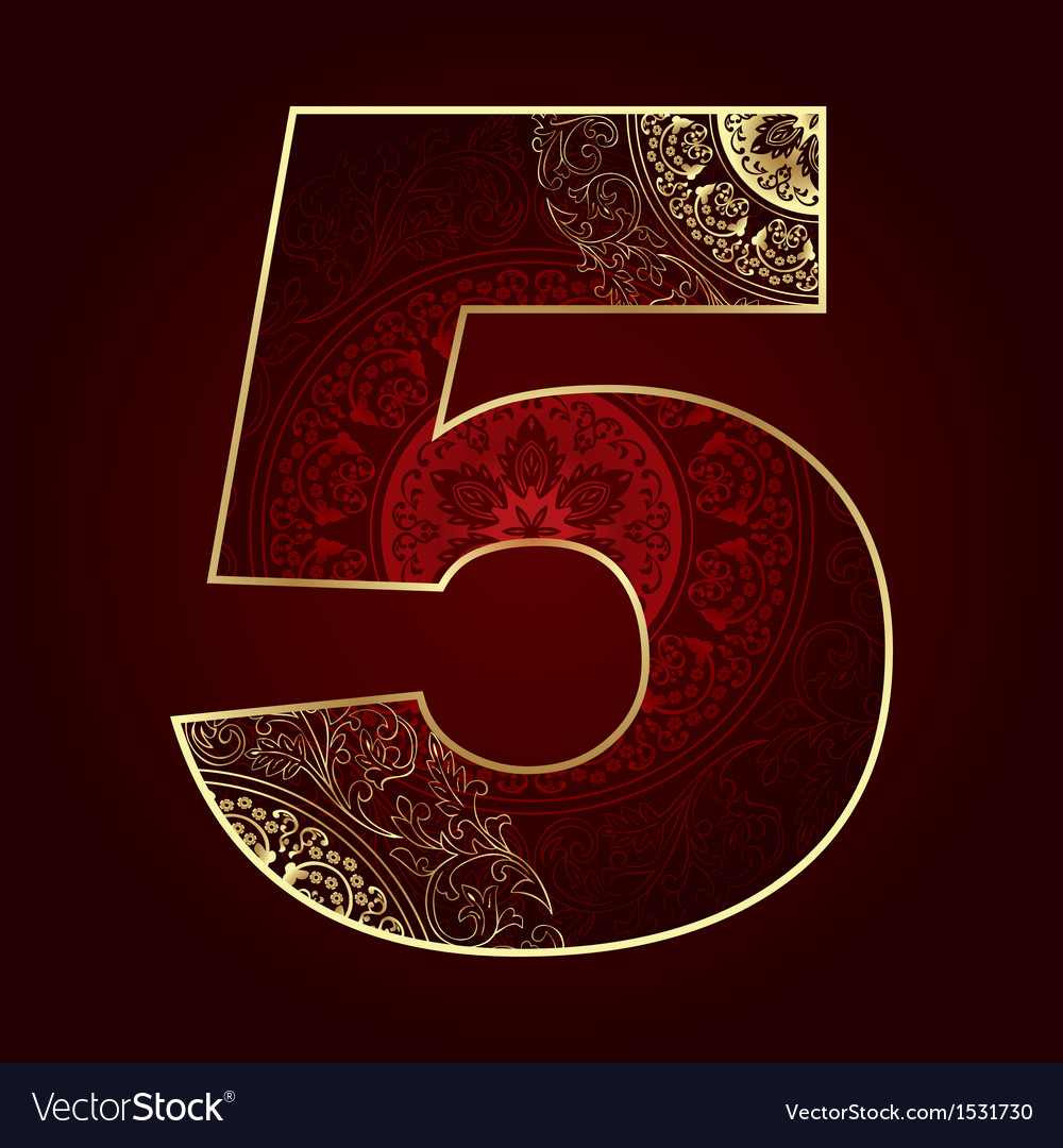 Vintage number 5 with floral swirls vector