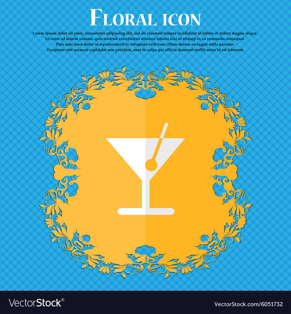 Cocktail floral flat design on a blue abstract vector