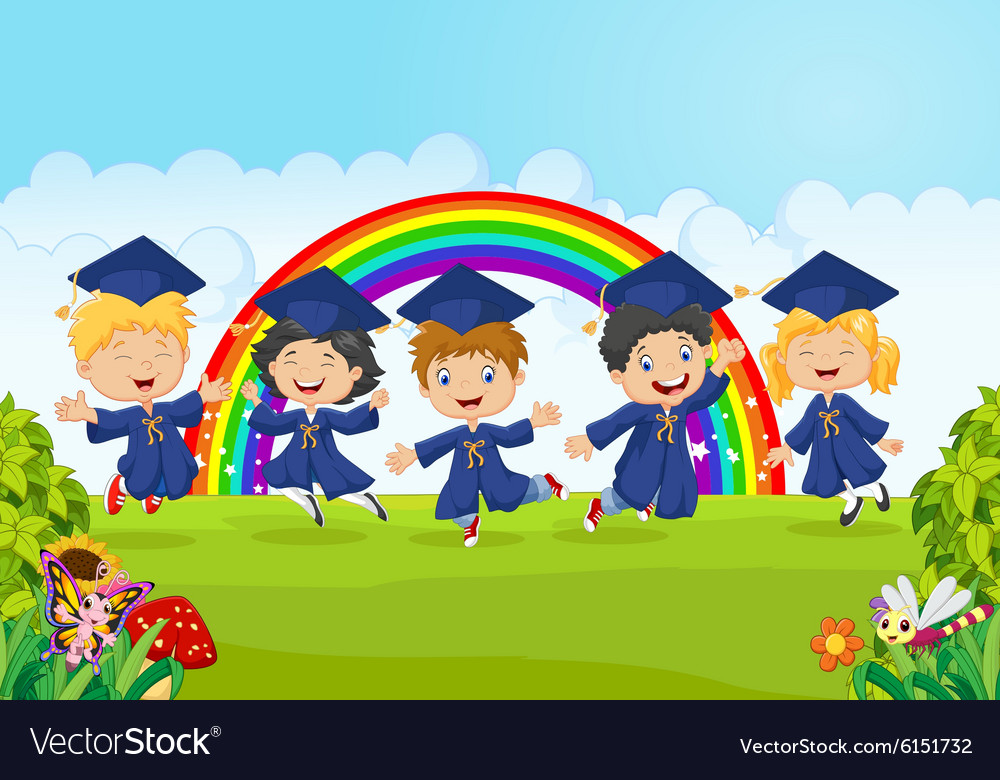 Happy little kids graduation celebration on rainbo vector