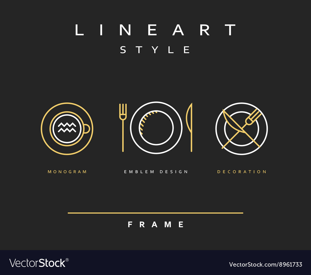Set cutlery icons plate fork and knife vector