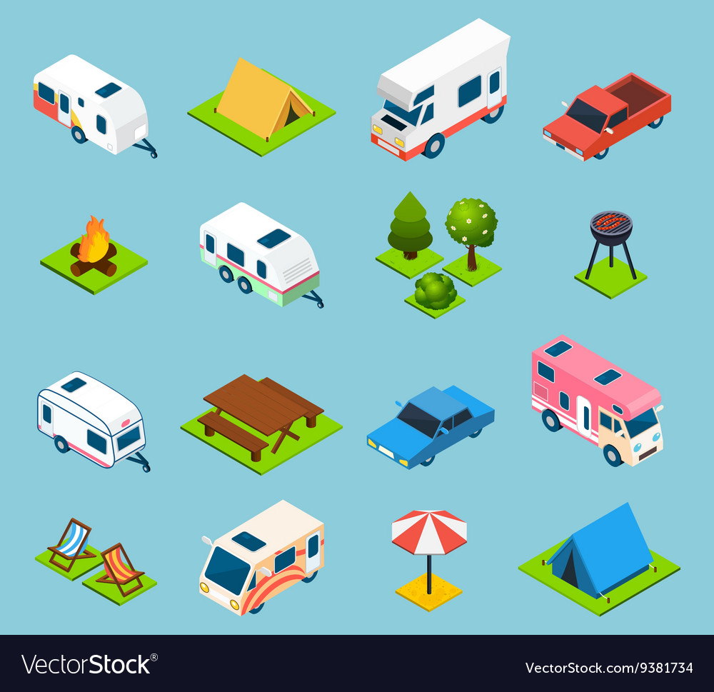 Camping and travel isometric icons set vector