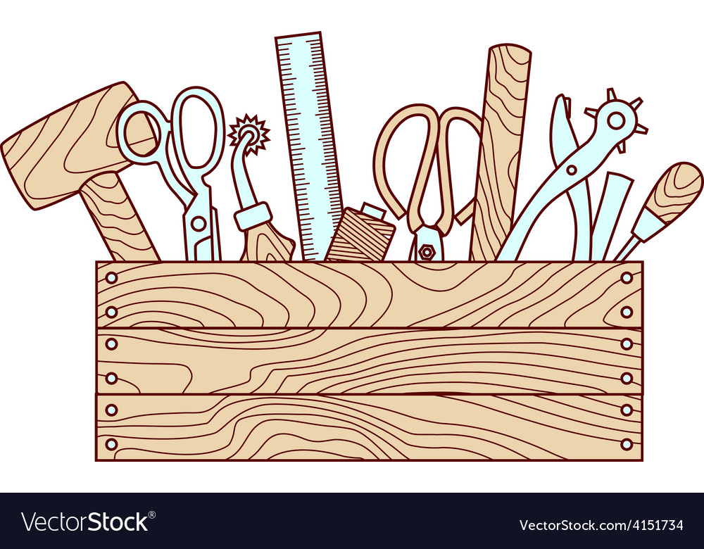 Craft tools in toolbox vector