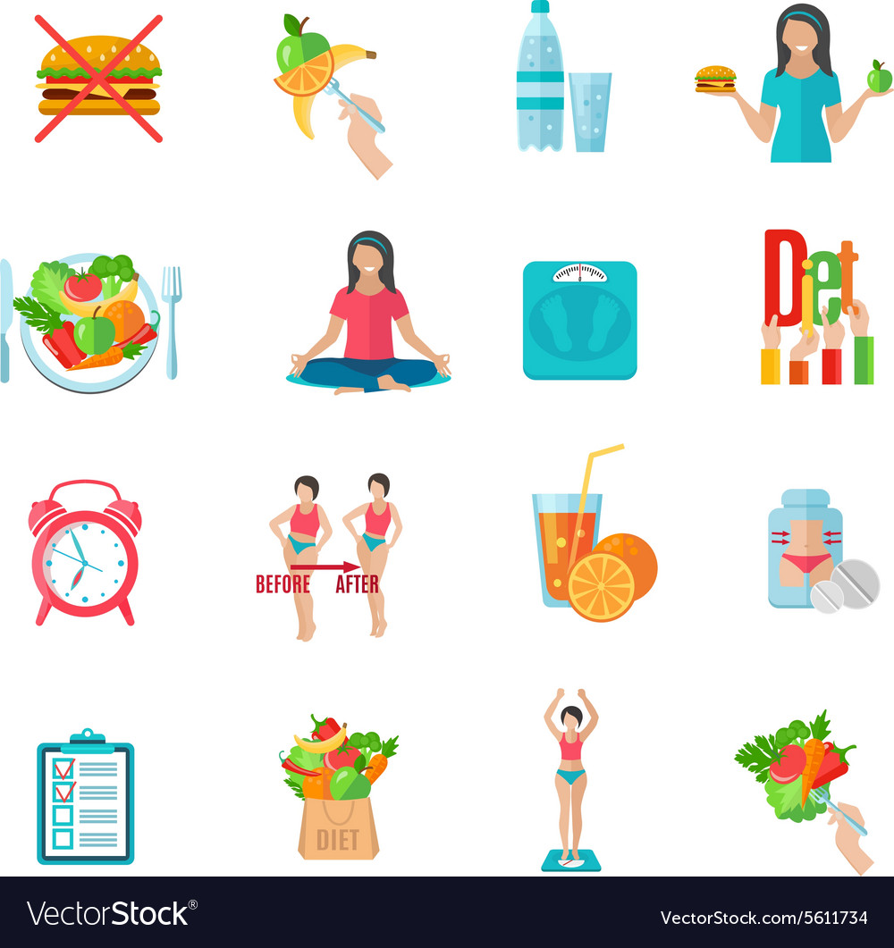 Weight loose diet flat icons set vector