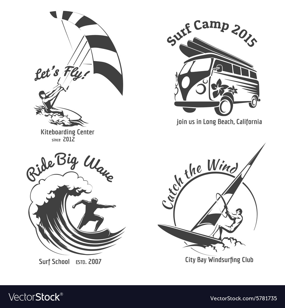 Vintage surfing labels and badges set vector