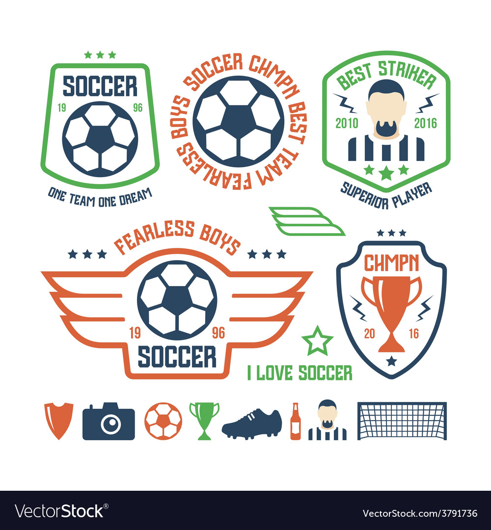Set soccer emblems and icons vector